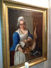 Hunting Season Hostess Mistress Woman with Robbit Duck Lunch Animal Oil Painting