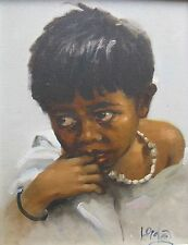 VICTOR C. LOYOLA PHILIPINO OIL ON CANVAS YOUNG BOY C 1960