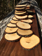 "Lot 25 4.5""Rustic Round Real Wood Slices Coasters~Craft~Custom Handmade USA"