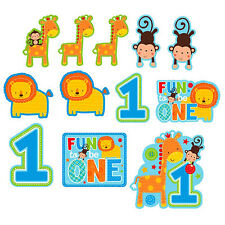 12 Wild Fun To Be One Blue Boy's 1st Birthday Party Cutout Wall Decorations