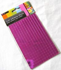 NEW 260 SELF ADHESIVE GLASS MIRROR SQUARES TILES MOSAIC ART CRAFT 7MM SIL PINK