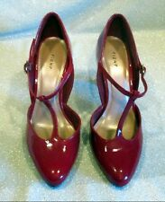 Red Patent Leather T Strap Heels by Fioni, Size 6