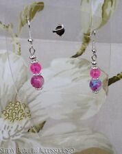 Pretty Crackle Glass Marble Beads Hot Pink Blue Dangle Pierced Earrings