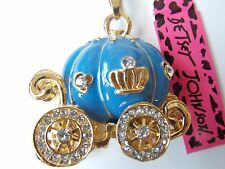 Betsey Johnson Fairy Godmother Pumpkin Carriage Pendant Necklace Blue & Gold