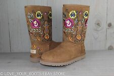 UGG JULIETTE CHESTNUT CLASSIC SHORT STYLE EMBROIDERY BOHO FLORAL BOOT US 7 New