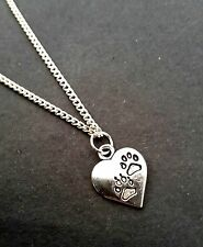 "Heart Paw Necklace 18"" Chain Dog Cat Pet Animal Remembrance  FREE GIFT BAG"