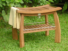 TEAK SHOWER BENCH STOOL w/ SHELF GARDEN PATIO FURNITURE