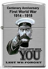 """First World War (WW1) """"Your Country Needs You"""" Zippo {Brush Chrome} Lighter"""
