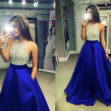 Crystal Beaded Bodice Royal Blue Prom Dress Formal Pageant Party Evening Gown