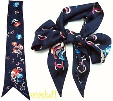 CHANEL navy w/red Camellias CC LOGOS 2-sided Silk Twill LONG scarf NEW Authentic