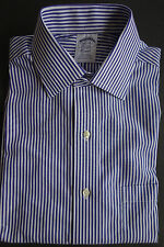 NWT Brooks Brothers Non Iron Blue White Bengal Stripe Spread 14.5-34 MSRP $92