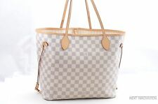 Authentic Louis Vuitton Damier Azur Neverfull MM Tote Bag N51106 LV 29962
