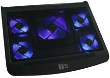 5 FAN BLUE LED LAPTOP SILENT NOTEBOOK COOLING COOLER STAND to FIT 13 15 17 INCH