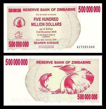 Zimbabwe 500,000,000 Dollars 2008 P60 UNC