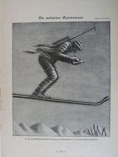 vintage SIMPLICISSIMUS cartoon 1924 EIN MODERNER SPORTSMANN e schilling