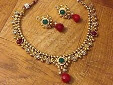 Indian Pakistani Ethnic Bollywood Ruby Green Pearl White Moti Necklace Set