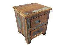 Bedside Table Solid Reclaimed Teak Wood 2 Drawers Bedroom Storage Handmade