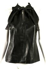 GUCCI Black Leather Tie-Collar Keyhole Front Sleeveless Blouse 42