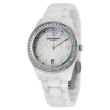 Emporio Armani Crystal Mother of Pearl Dial Ladies Watch AR1426