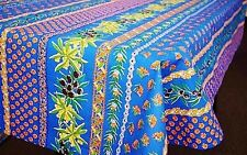 """LE CLUNY, OLIVES & MIMOSAS BLUE, FRENCH PROVENCE COATED TABLECLOTH, 60"""" x 120"""""""