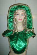 Green Headpiece & Chest Piece Tudor Medieval Fairy Tale Hat Collar Fancy Dress