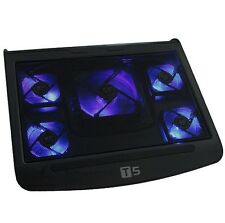 "5 Fan Blue LED 10-17"" Laptop Notebook Cooling Cooler Stand Pad Extra USB Port"