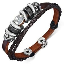 Double Wrap Leather Bali Beads Channel-Set Eternity Tube Ring Snap Brace