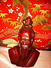Beautifully hand carved antique chinese gentleman bust figure rosewood
