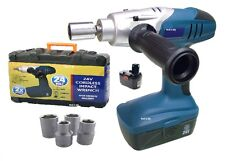 "HEAVY DUTY 24V 1/2"" CORDLESS IMPACT WRENCH RATCHET & 2 BATTERIES & SOCKETS CASE"