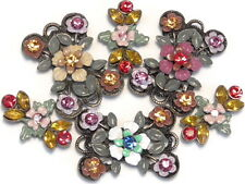 6 - 2 HOLE SLIDER BEADS MULTI COLOR SAPPHIRE TOPAZ FUCHSIA SIAM CRYSTAL FLOWERS