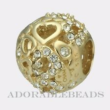 Authentic Chamilia 14kt Gold Captured Hearts Bead  2320-0001