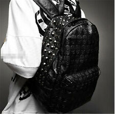 Luxury Women Men Backpack School Rucksack Satchel Shoulder Bag Skull Rivet 14f