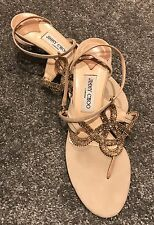 JIMMY CHOO Nude Sandals With Gold Detail Size EU 40 UK 7