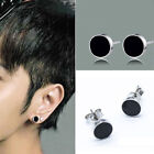 1Pair Fashion Jewelry Womens Mens Silver plated Black Stud Earrings SI