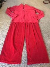 Nice women's size M Medium red velour track suit set outfit top pants