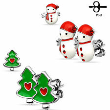 2 Pairs Christmas Trees W/Heart & Snowmen 316L Surgical Steel Earrings 20G
