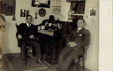 RPPC Real Photo Postcard ~ Office Interior ~ Two Men Roll Top Desk ~ Brass Owl