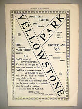 Yellowstone Park PRINT AD - 1896 ~~ Northern Pacific Railroad