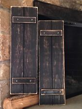 """Handmade Primitive Country Rustic Distressed Black Shutters 24"""" / Set of 2"""