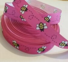 1m grosgrain ribbon 22 mm wide bright Pink with bumble bees insects