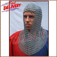 Chain Mail Coif Zinc Butted Medieval Armour Chainmail Hood Larp Reenctment V