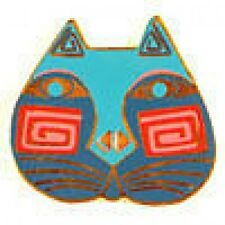 Retired Laurel Burch Button-Cat Face Blue/Pink - 28mm