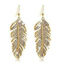 Diamanté Crystal Diamond Rhinestone Feather Gold Plated Earrings