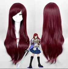 2017 New Long Straight Fairy Tail Erza Scarlet Dark Red Cosplay Anime Wigs+gift
