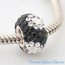 CLEAR FLOWER ON BLACK CZ CRYSTAL .925 Solid Sterling Silver EUROPEAN Bead Charm