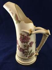 Gorgeous Antique Hand Painted Floral Royal Worcester Porcelain Pitcher Ewer Vase