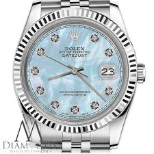 Man`s Rolex 36mm Datejust Baby Blue MOP Mother Of Pearl Dial with Diamond Watch