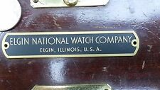 Elgin National Watch Company marine chronometer US Navy brass plate plaque - NOS