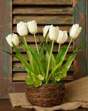 ARTIFICIAL WHITE TULIPS IN TWIG NEST BASKET SPRING EASTER DECOR 12 IN TALL