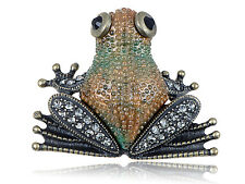 Crystal Elements Antique Bumpy Skin Brown Frog Pin Brooch